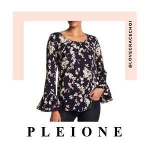 Pleione | Navy Blue Floral Bell Sleeve Blouse